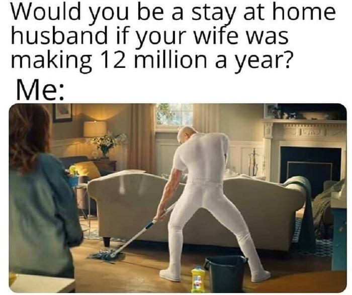 Стал бы ты мужем-домохозяйкой, если бы твоя жена зарабатывала $12 миллионов в год?    Я:
