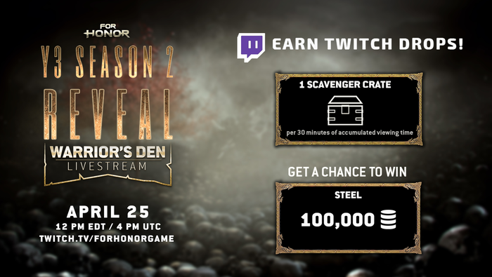 ForHonorYEAR 3 SEASON 2 - WARRIOR'S DEN LIVESTREAM – TWITCH DROPS For Honor, Ubisoft