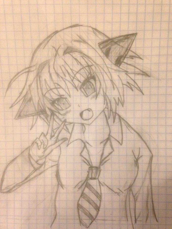 Первая попытка нарисовать няшку ^_^ Рисунок карандашом, Няша, Первый пост, Аниме