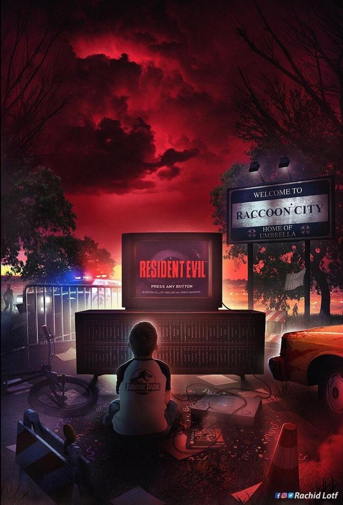 Welcome to Raccoon City Арт, Картинки, Видеоигра, Resident Evil, Ужасы, Зомби, Oldschool, Ностальгия
