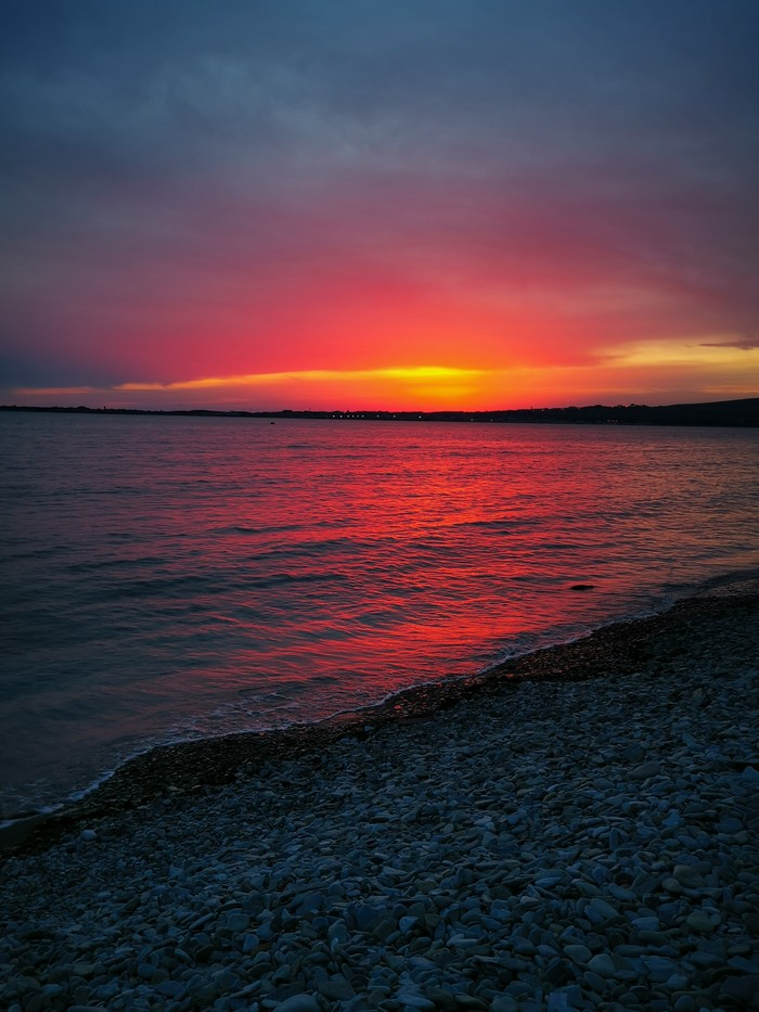 Кровавый закат. Геленджик. Природа, Черное море, Закат, Длиннопост, Геленджик