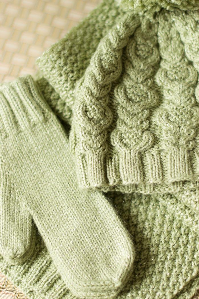 Светло-зеленый зимний комплект. Вязание, Рукоделие, Рукоделие без процесса, Своими руками, Шапка, Вязаный шарф, Длиннопост