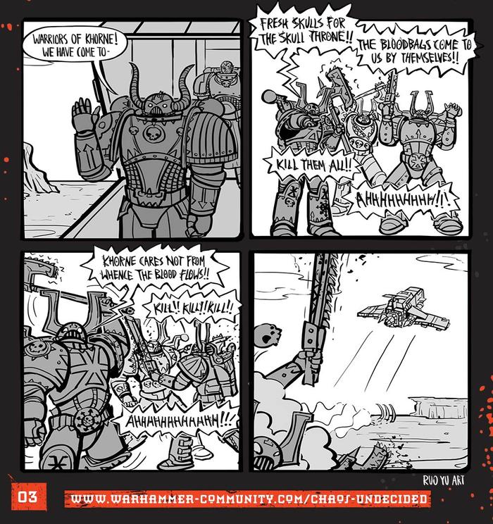Хаос неопределённый #03 Warhammer 40k, Wh humor, Ruo Yu Chen, Комиксы, Chaos Space marines, Chaos-Undecided, Khorne Berserker