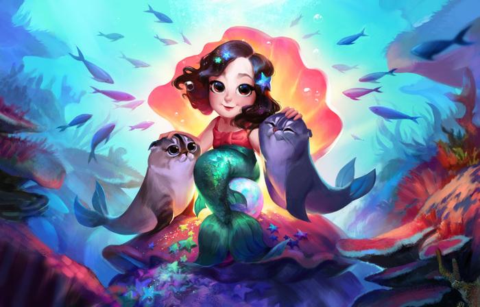 Подарок своими руками :) Подводный мир, Русалочка, Девочка, Кот, Морской котик, Иллюстрации, Рисунок, Цифровой рисунок