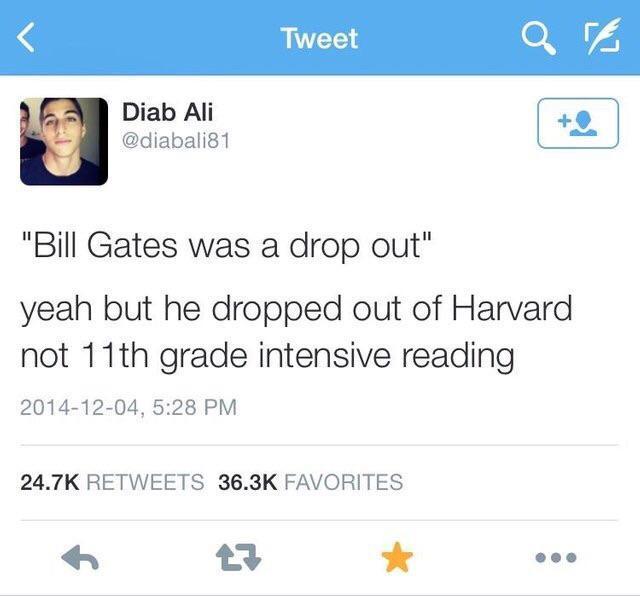 Ищущим себе оправдание Билл Гейтс, Чтение, Отчисление, Школа, Универ, Twitter, Скриншот