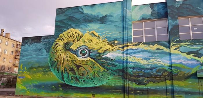 Наутилус в Омске Омск, Граффити, Искусство, Стрит-Арт, Мурал, Gooze Art