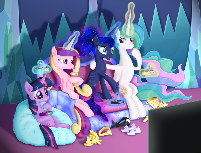 Princess Gaming Night My Little Pony, Ponyart, Twilight Sparkle, Princess Luna, Princess Celestia, Princess Cadance, Lifesharbinger