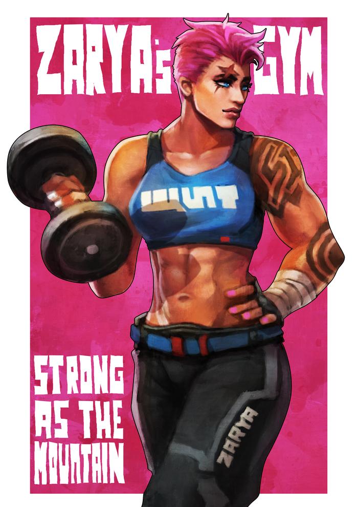 Zarya's Gym Monorirogue, Арт, Крепкая девушка, Overwatch, Zarya