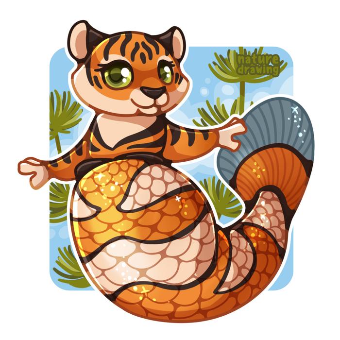 MerMay Challenge | Тигрица Рисунок, Mermay, Тигр, Русалка, Животные, Милота, Видео