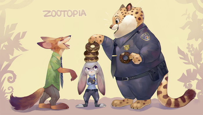 Zootopia Зверополис, Арт, Nick Wilde, Judy Hopps, Бенджамин Когтяузе, Пончики