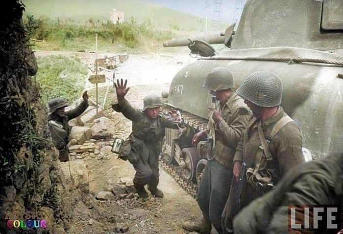 Американские солдаты Вторая мировая война, США, Армия, Вермахт, Колоризация, Длиннопост