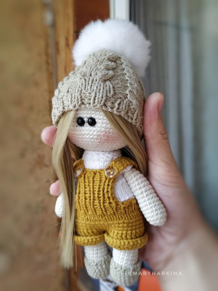 Кукла в комбинезоне Вязание, Кукла, Длиннопост