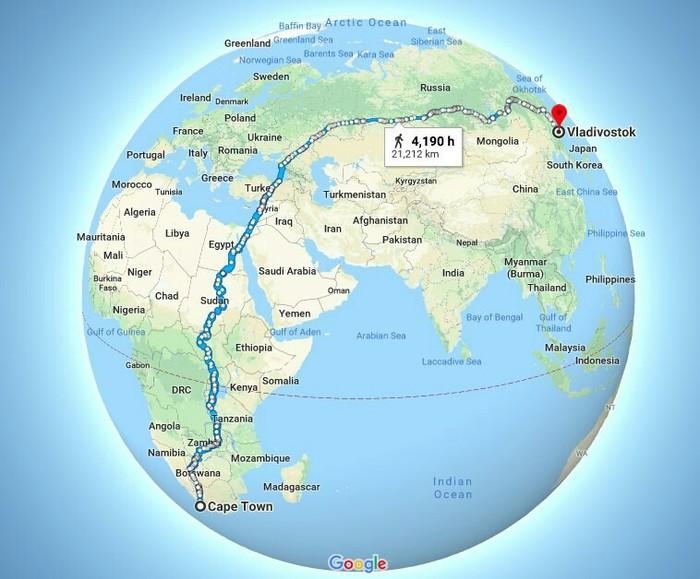 Кейптаун-Владивосток Прогулка, Пешком, Кейптаун, Владивосток, Google Maps