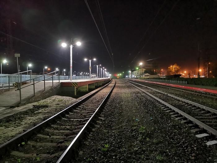 Ночная жд Дзержинск, Мобильная фотография, Фотография, Железная Дорога, Длиннопост