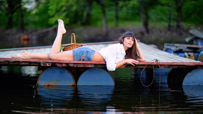 Дождался Фотография, Девушки, Весна, Вода