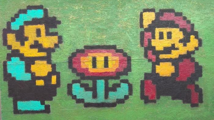 Марио по клеткам Марио, Рисунок на стене, Рисунок по клеточкам
