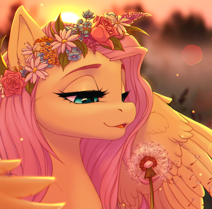 Flower pony~ My Little Pony, Fluttershy, Цветочный венок, Одуванчик, Закат, Savemekitty