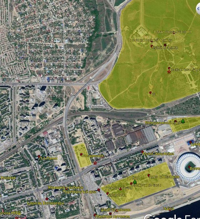 Интерактивная карта достопримечательностей Волгограда Волгоград, Интерактивная карта, Достопримечательности, Google Earth PRO