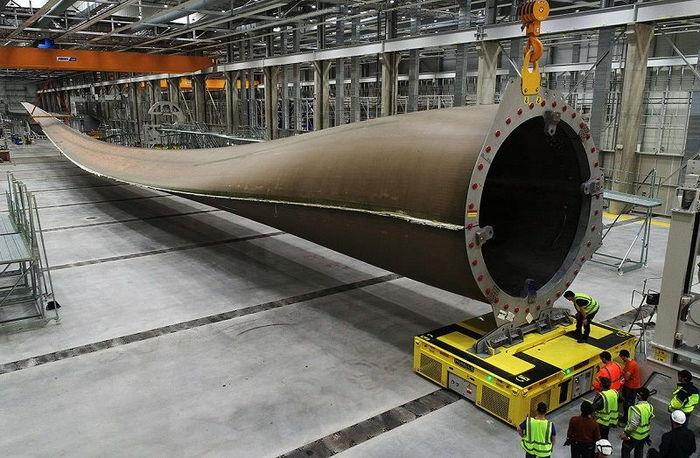 Изготовлена первая в мире лопасть ветрогенератора длиной 107 метров. Электричество, Ветер, Новости, Море, Длиннопост