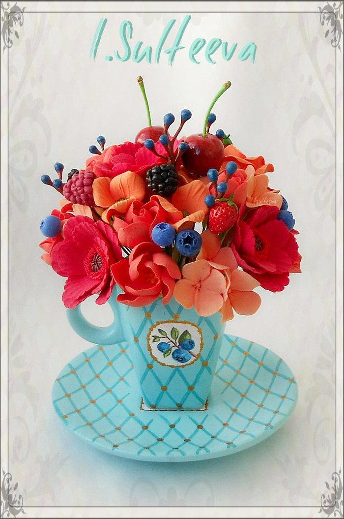Цветочные чашечки Полимерная глина, Рукоделие без процесса, Цветы, Творчество, Ручная работа, Ягоды, Длиннопост