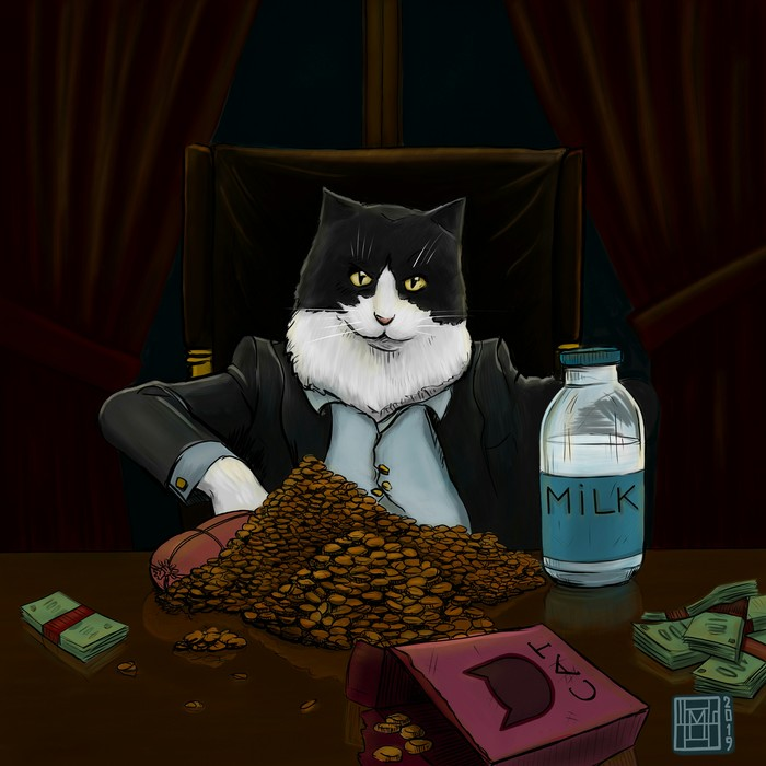Scarcat Кот, Цифровой рисунок, Рисунок, Иллюстрации, Тони Монтана, Лицо со шрамом, Фильмы, Пародия