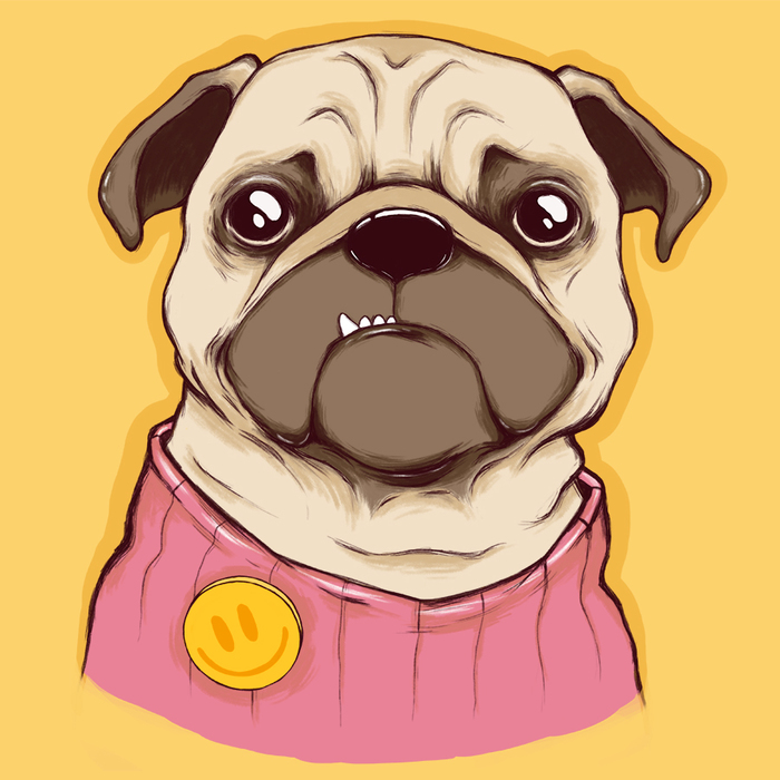Мопс Рисунок, Мопс, Цифровой рисунок, Photoshop, Собака, Бобёр рисует, Анималистика, Животные
