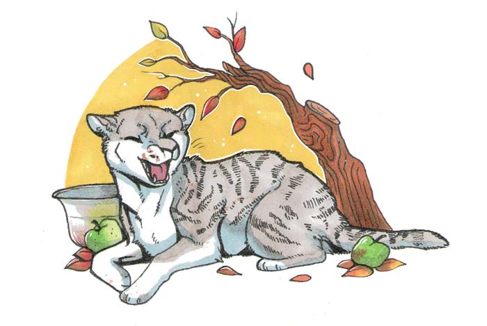 Коты пикабушников Кот, Рисунок на бумаге, Спиртовые маркеры, Длиннопост