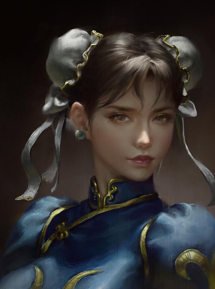 Чунь Ли Chun-Li, Street Fighter, Игры, Арт, Рисунок, Портрет, Ley Bowen