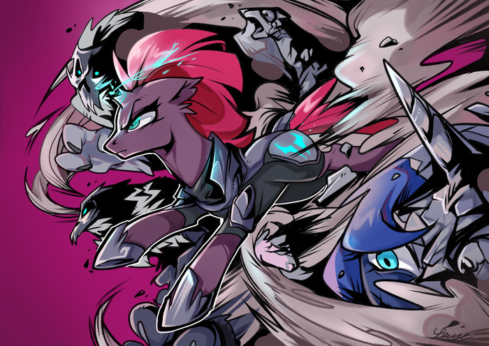 TempestShadow by RougeRedRed My Little Pony, My Little Pony: The Movie, Tempest Shadow, Princess Luna, Rougeredred, Ponyart