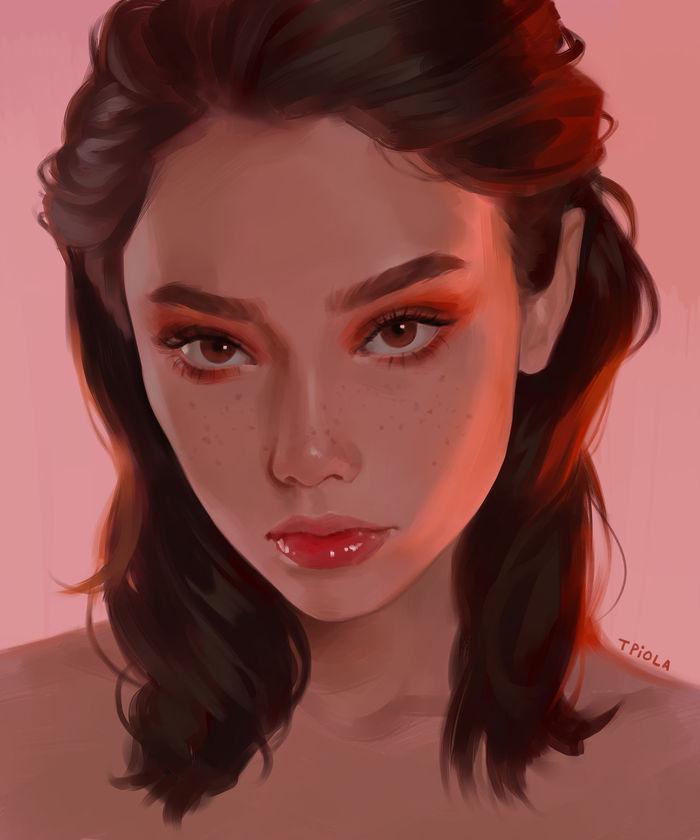 Red tint Tpiola, Арт, Рисунок, Портрет, Красивая девушка, Веснушки