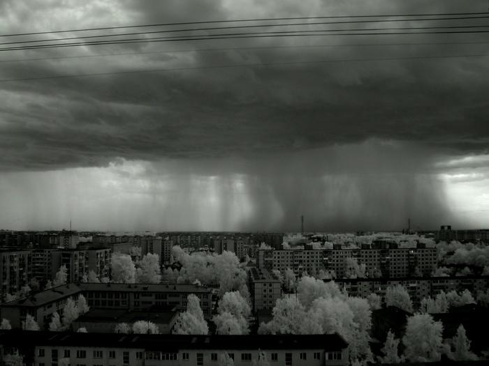 Фото в инфракрасном Фотография, Инфракрасная съёмка, Дождь, Черно-Белое фото