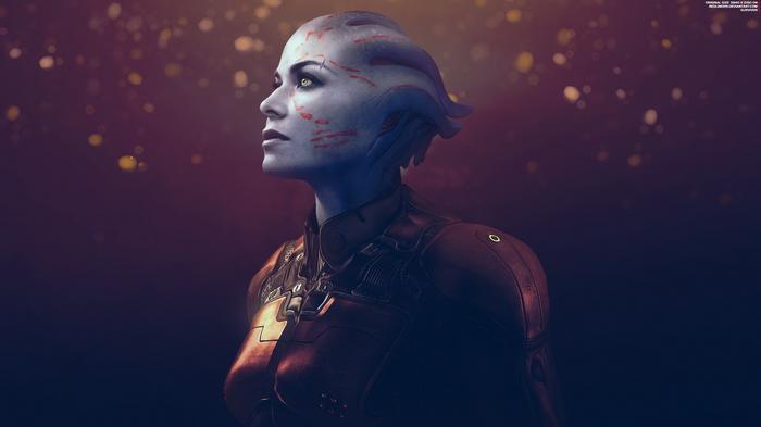 """Выживший"" - Mass Effect Trilogy 4K Mass Effect, Синтез, Шепард, Азари, Обои на рабочий стол, Брови"
