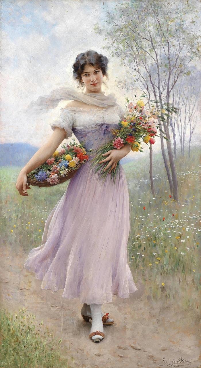 Эжен де Блаас «Девушка в сиреневом платье с букетом цветов», 1911 год.