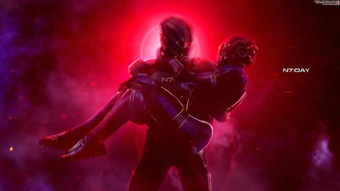 """""""Вместе"""" - Mass Effect Trilogy N7 Day 2017 Mass Effect, Жнец, Шепард, Эшли Уильямс, Обои на рабочий стол"""