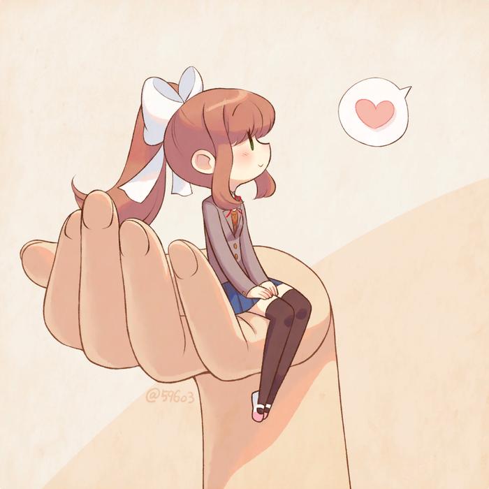 Tiny Moni Doki Doki Literature Club, Monika, Anime Art, Визуальная новелла