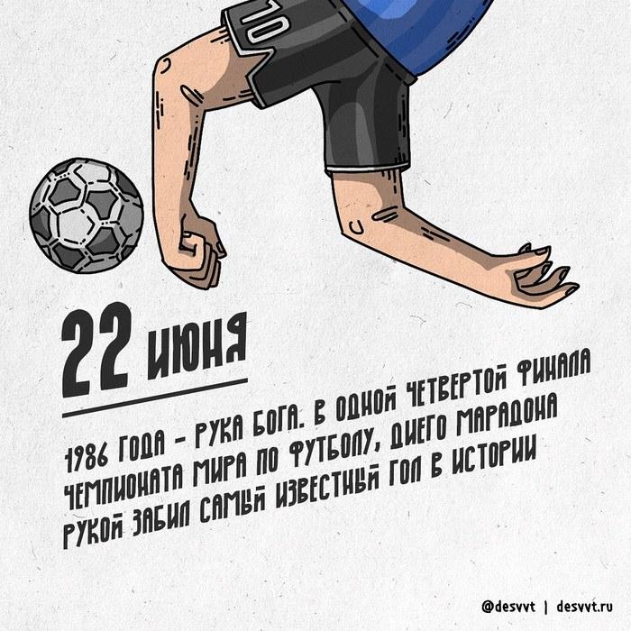 (204/366) 22 июня Марадона исполнил руку бога Проекткалендарь2, Рисунок, Иллюстрации, Футбол, Рука бога, Диего Марадона, Чемпионат мира по футболу