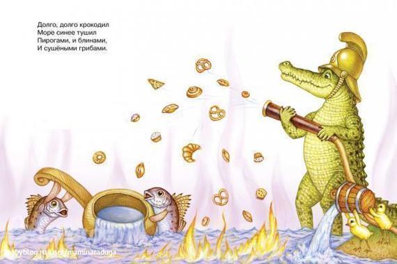 Картинка из корнея чуковского крокодил тушит пожар блинами и грибами