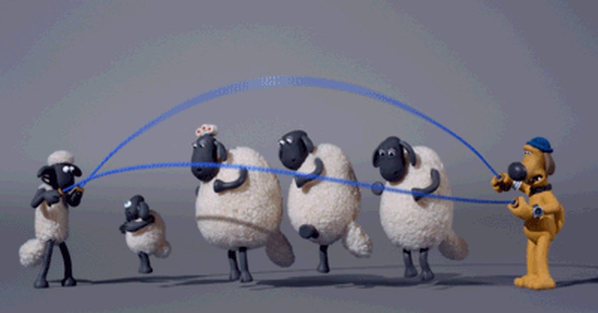 Оригами, прыгающая овечка гифка