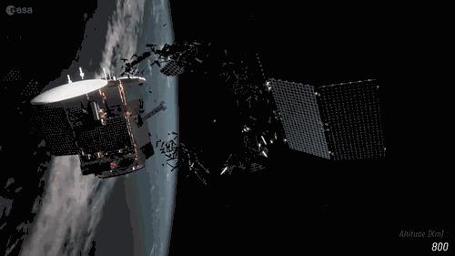 Европейское космическое агентство разрабатывает систему для оценки риска столкновения спутников с космическим мусором Космос, Искусственный интеллект, Перевод, Гифка, Видео
