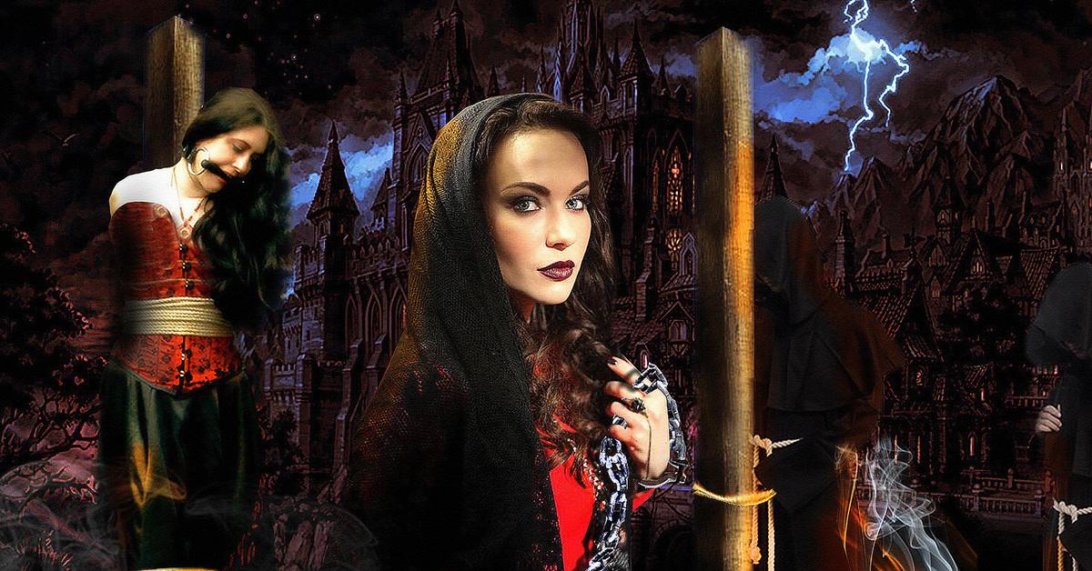 Гиф ведьма на костре