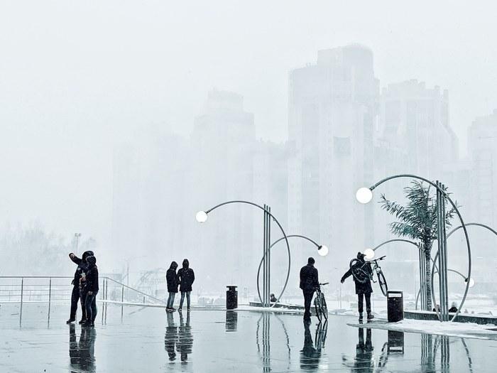Сегодняшний снегопад в Питере