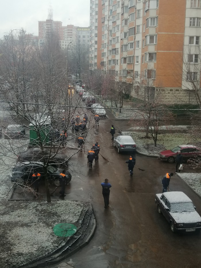 В Москве выпал снег. Всё ещё удивляюсь количеству дворников на квадратный метр