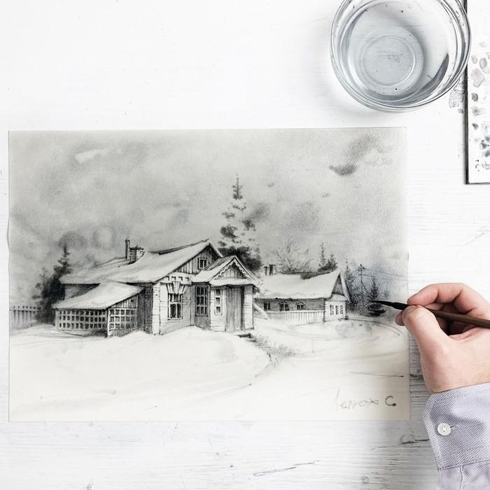 Акварельный этюд - деревня