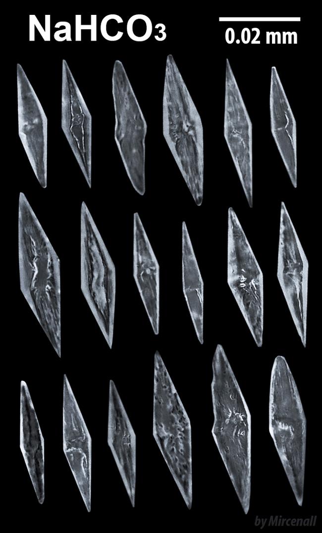 Кристаллы гидрокарбоната натрия (пищевой соды)