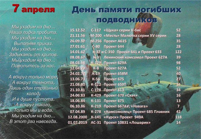 7 апреля день памяти погибших подводников стихи