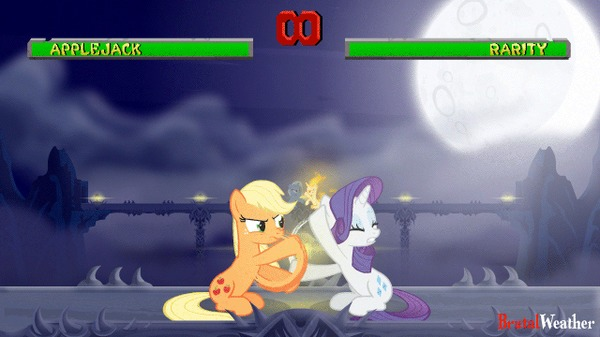 Этот бой будет легендарным My Little Pony, Mortal Kombat, Гифка, Applejack, Rarity, Trixie, Twilight Sparkle, Brutalweather