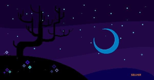 Неоновая ночь Пиксель, Неон, Цифровой рисунок, Ночь, Луна, Дерево, Гифка