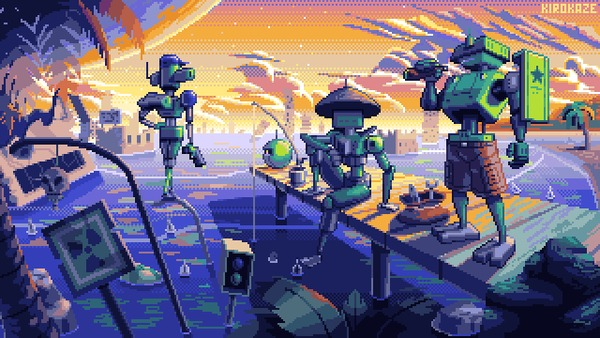 Побережье Арт, Pixel Art, Pixelgif, Побережье, Робот, Научная фантастика, Kirokaze, Гифка