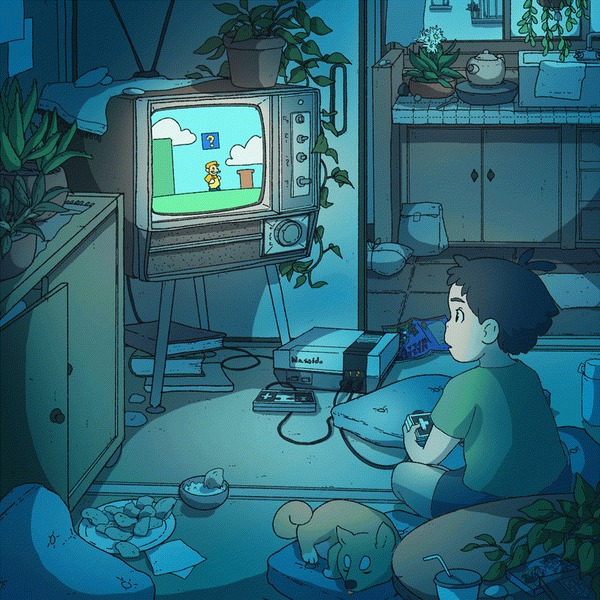 """""""Ну всё, ещё один уровень - и спать"""" Гифка, Игры, Ночь, Детство, Развлечения, Сон, Арт, Reddit, Nes, Олдскул"""