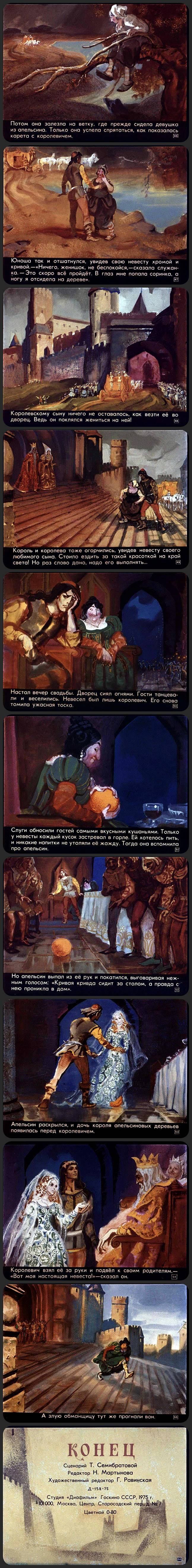 Три апельсина (1975) Длиннопост, Прошлое, Картинка с текстом, Диафильм